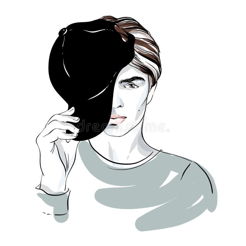 Όμορφο πορτρέτο ατόμων ` s μόδας Πρόσωπο ατόμων ` s που καλύπτεται από μια μισό-ΚΑΠ Διανυσματική απεικόνιση doodle που απομονώνετ απεικόνιση αποθεμάτων