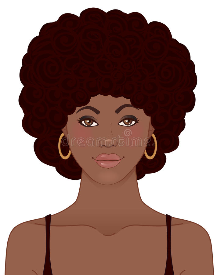 Όμορφο πορτρέτο κοριτσιών αφροαμερικάνων Μαύρη έννοια ομορφιάς ελεύθερη απεικόνιση δικαιώματος