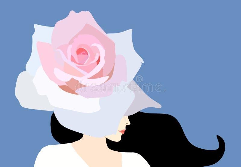 Όμορφο πορτρέτο σχεδιαγράμματος γυναικών brunette που απομονώνεται στο μπλε υπόβαθρο Ο μεγάλος ανοικτό ροζ κρίνος ως καπέλο καλύπ ελεύθερη απεικόνιση δικαιώματος