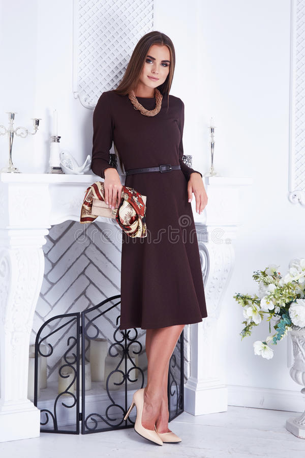 Όμορφο προκλητικό πολυτελές καλά-καλλωπισμένο νέο καφετί φόρεμα γυναικών στοκ εικόνες