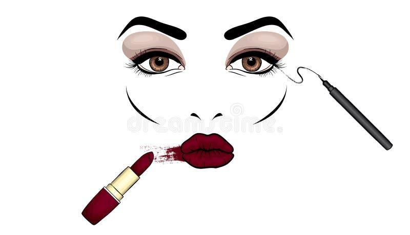 Όμορφο πρόσωπο γυναικών ` s με το makeup χείλια ματιών Καλλυντικά Διανυσματική απεικόνιση για μια κάρτα ή μια αφίσα Τυπωμένη ύλη  ελεύθερη απεικόνιση δικαιώματος