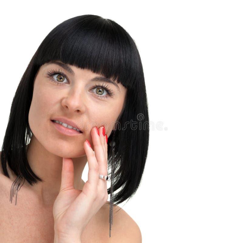 Όμορφο πρόσωπο νέου στενού επάνω γυναικών, που απομονώνεται στο άσπρο υπόβαθρο στοκ φωτογραφία με δικαίωμα ελεύθερης χρήσης