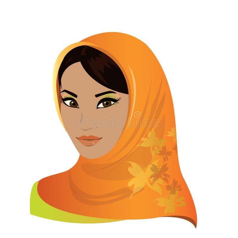 Όμορφο πρόσωπο της αραβικής μουσουλμανικής γυναίκας απεικόνιση αποθεμάτων