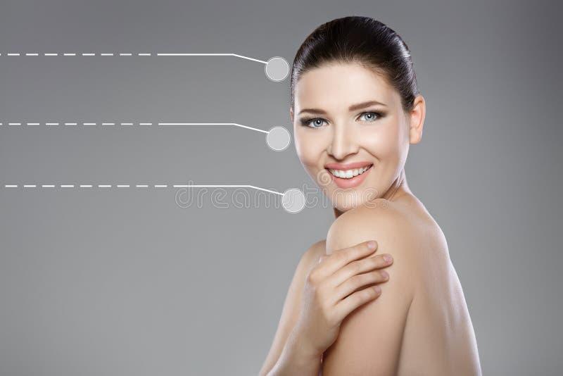Όμορφο πρόσωπο της γυναίκας με τα μπλε μάτια και το καθαρό φρέσκο δέρμα Πορτρέτο SPA στοκ εικόνες