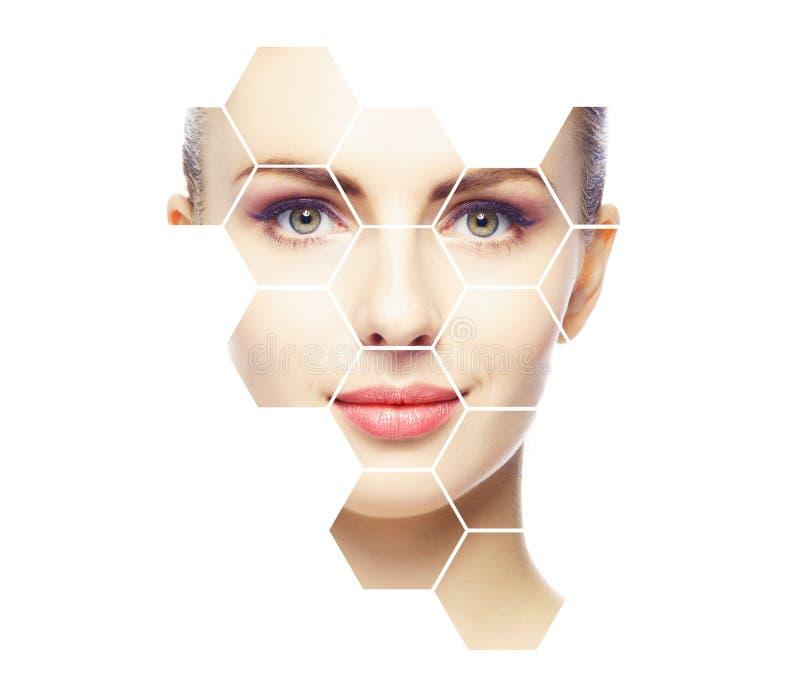Όμορφο πρόσωπο του νέου και υγιούς κοριτσιού Πλαστική χειρουργική, φροντίδα δέρματος, καλλυντικά και έννοια ανύψωσης προσώπου στοκ εικόνα