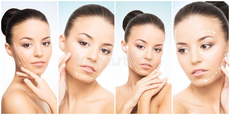Όμορφο πρόσωπο του νέου και υγιούς κοριτσιού στη συλλογή κολάζ Πλαστική χειρουργική, φροντίδα δέρματος, καλλυντικά και ανύψωση πρ στοκ φωτογραφίες