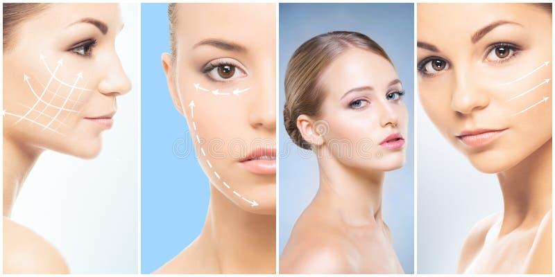 Όμορφο πρόσωπο του νέου και υγιούς κοριτσιού στη συλλογή κολάζ Πλαστική χειρουργική, φροντίδα δέρματος, καλλυντικά και ανύψωση πρ στοκ φωτογραφία
