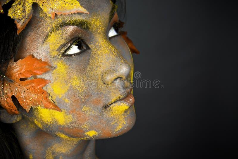 όμορφο πρόσωπο φθινοπώρο&upsilon στοκ εικόνες με δικαίωμα ελεύθερης χρήσης