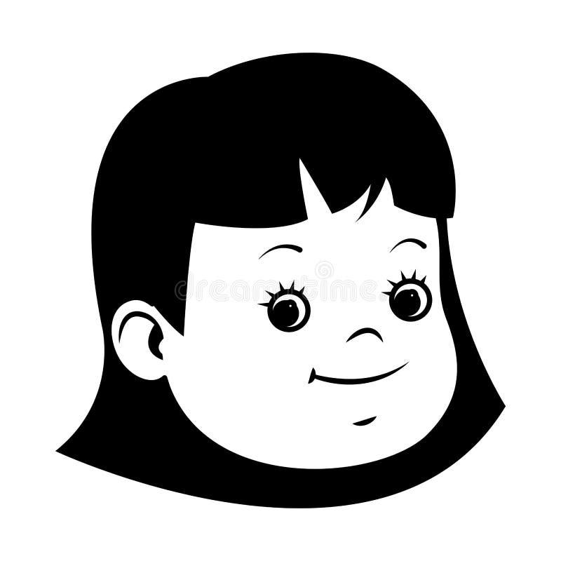 Όμορφο πρόσωπο χαμόγελου μικρών κοριτσιών σε γραπτό απεικόνιση αποθεμάτων