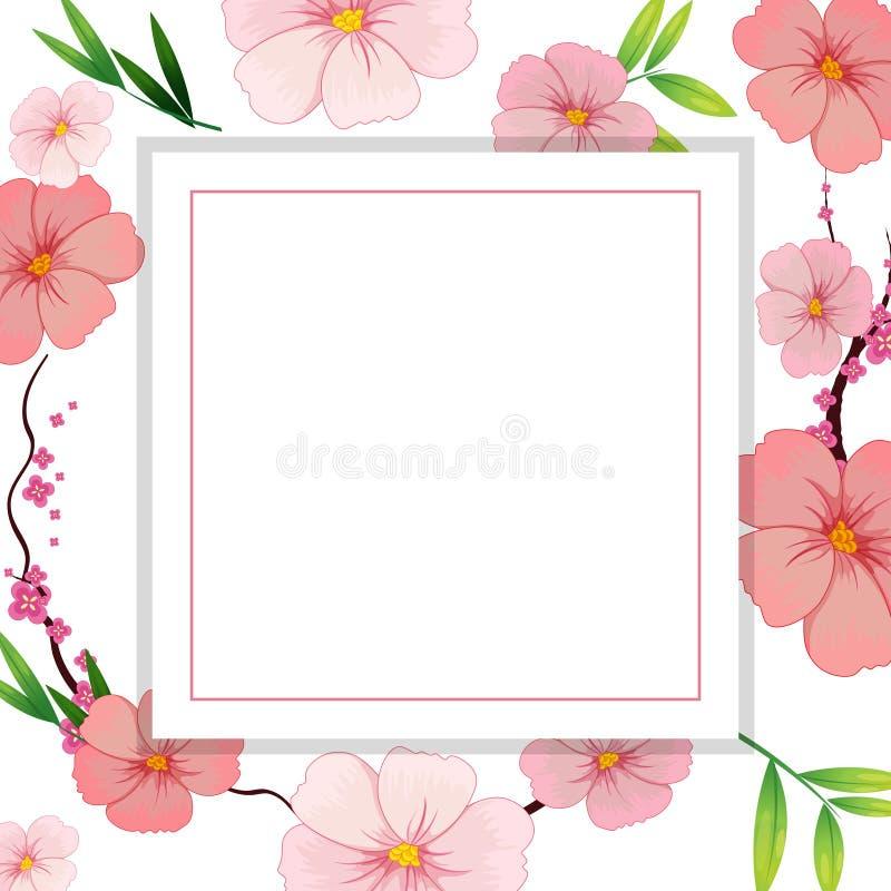 Όμορφο ρόδινο Hibiscus πρότυπο λουλουδιών απεικόνιση αποθεμάτων