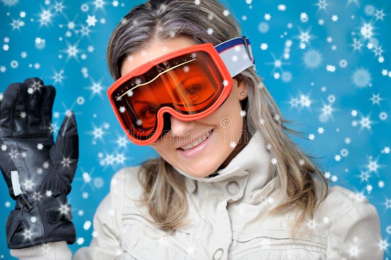 όμορφο σκι κοριτσιών ενδ&ups στοκ εικόνες