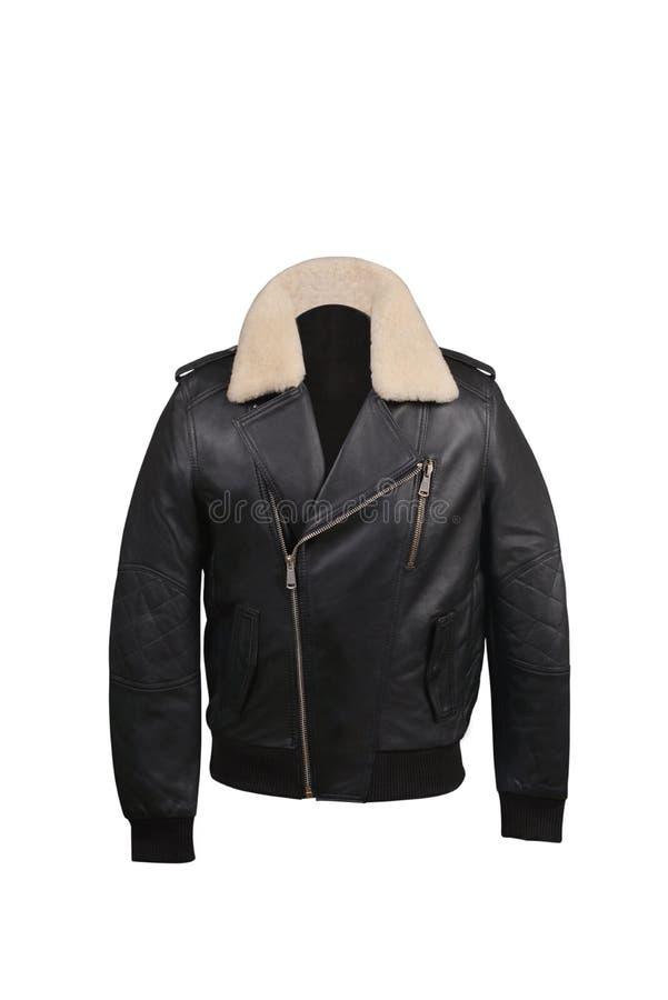 Όμορφο σκοτεινό μαύρο χρώμα σακακιών δέρματος στοκ εικόνες με δικαίωμα ελεύθερης χρήσης