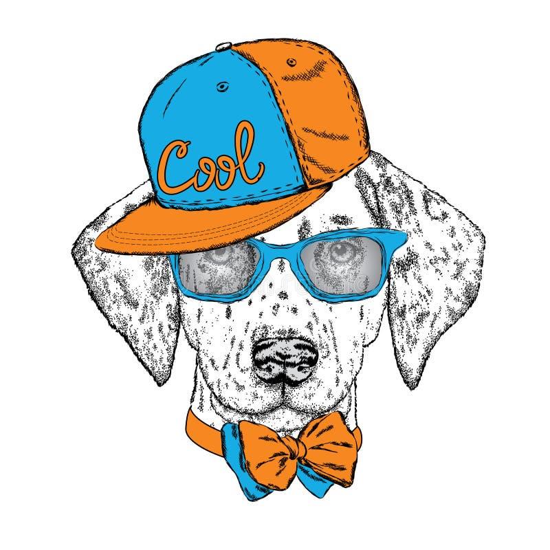 Όμορφο σκυλί με τα γυαλιά, ΚΑΠ και δεσμός επίσης corel σύρετε το διάνυσμα απεικόνισης Χαριτωμένα από τη Δαλματία κουτάβι απεικόνιση αποθεμάτων