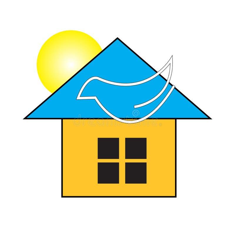 Όμορφο σπίτι ειρήνης με τον ήλιο, μέσα ελεύθερη απεικόνιση δικαιώματος
