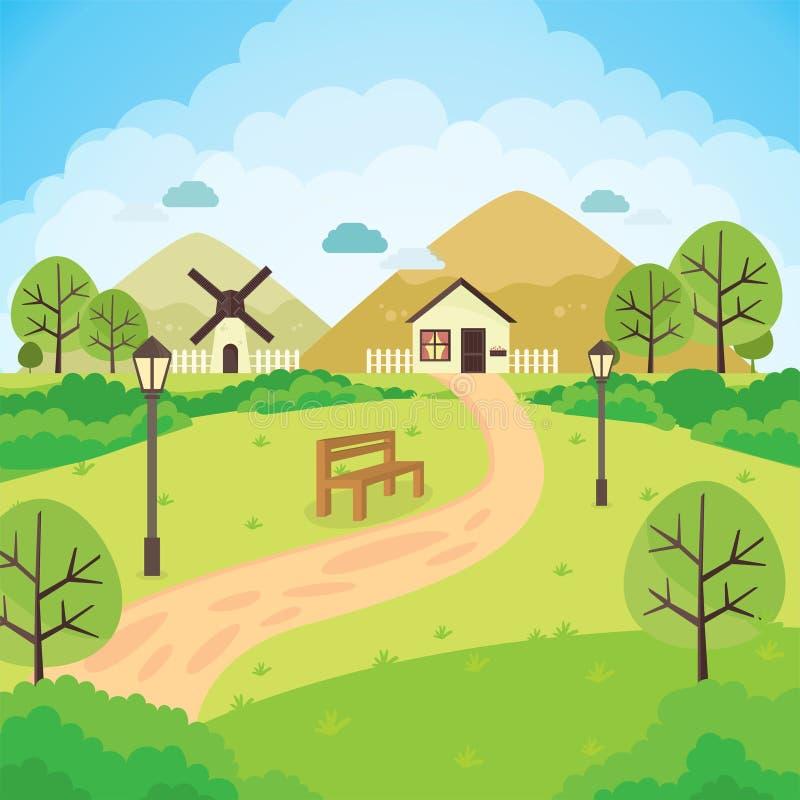 όμορφο σπίτι στον κήπο ελεύθερη απεικόνιση δικαιώματος