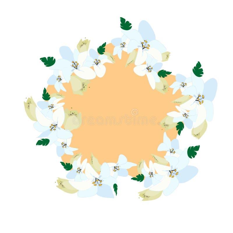 όμορφο στεφάνι άνοιξη των λουλουδιών κρίνων ελεύθερη απεικόνιση δικαιώματος