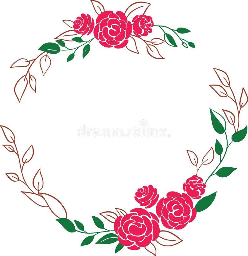 Όμορφο στεφάνι Κομψό floral πλαίσιο που απομονώνεται με τα ρόδινα λουλούδια και τα φύλλα, συρμένη χέρι ψηφιακή διανυσματική απεικ ελεύθερη απεικόνιση δικαιώματος