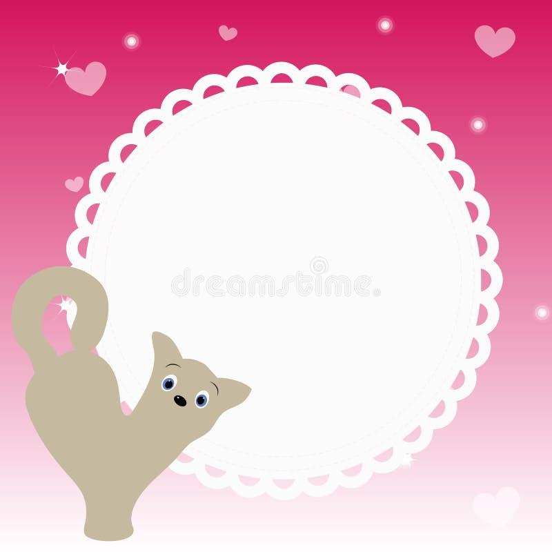 Όμορφο στρογγυλό πλαίσιο με το γατάκι στο ρόδινο υπόβαθρο με τις καρδιές ελεύθερη απεικόνιση δικαιώματος