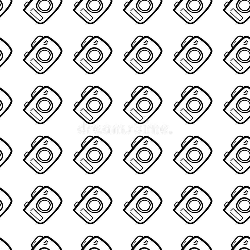 Όμορφο συρμένο χέρι άνευ ραφής εικονίδιο καμερών μόδας σχεδίων Συρμένο χέρι μαύρο σκίτσο Σημάδι/σύμβολο/doodle Απομονωμένος στο λ ελεύθερη απεικόνιση δικαιώματος