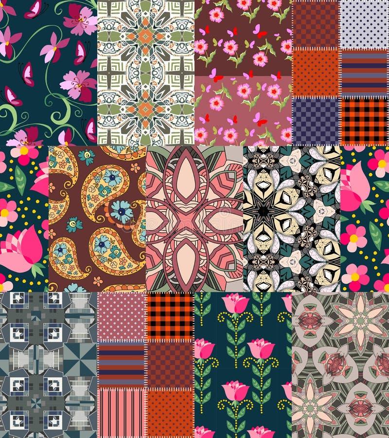 Όμορφο σχέδιο προσθηκών με το Paisley και τα λουλούδια απεικόνιση αποθεμάτων