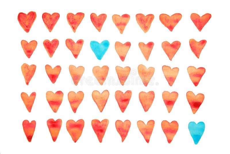 Όμορφο σχέδιο watercolor με τις καρδιές Μπορέστε να χρησιμοποιηθείτε για την ταπετσαρία, το πρότυπο γεμίζει, ανασκόπηση ιστοσελίδ ελεύθερη απεικόνιση δικαιώματος