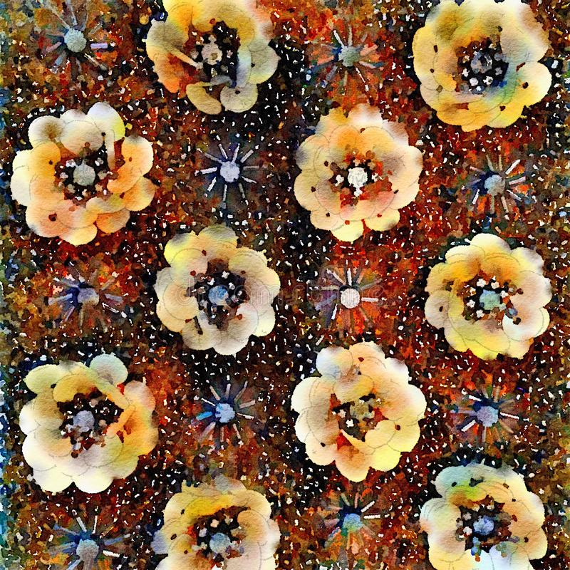 Όμορφο σχέδιο υποβάθρου λουλουδιών watercolor διανυσματική απεικόνιση