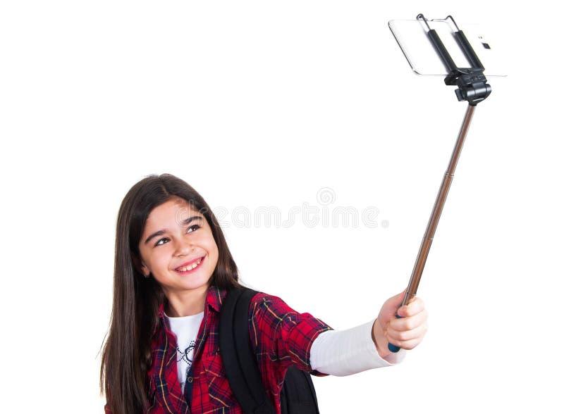 Όμορφο σχολικό κορίτσι που κάνει selfie στοκ φωτογραφία με δικαίωμα ελεύθερης χρήσης