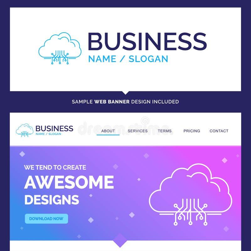 Όμορφο σύννεφο εμπορικού σήματος επιχειρησιακής έννοιας, υπολογισμός, στοιχεία, ho διανυσματική απεικόνιση