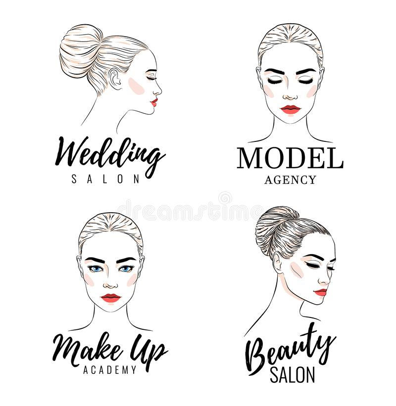Όμορφο σύνολο λογότυπων γυναικών, πρότυπο λογότυπο ακαδημιών, γαμήλιο σαλόνι ομορφιάς, έμβλημα ή σχέδιο αφισών απεικόνιση αποθεμάτων