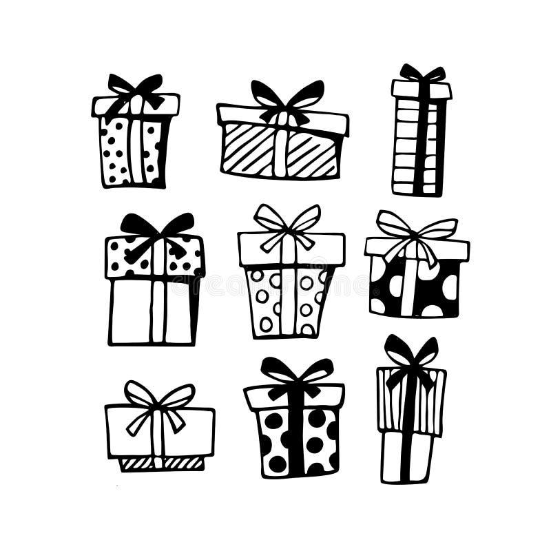 Όμορφο σύνολο με τα γραφικά μαύρα κιβώτια δώρων στο άσπρο υπόβαθρο απεικόνιση αποθεμάτων