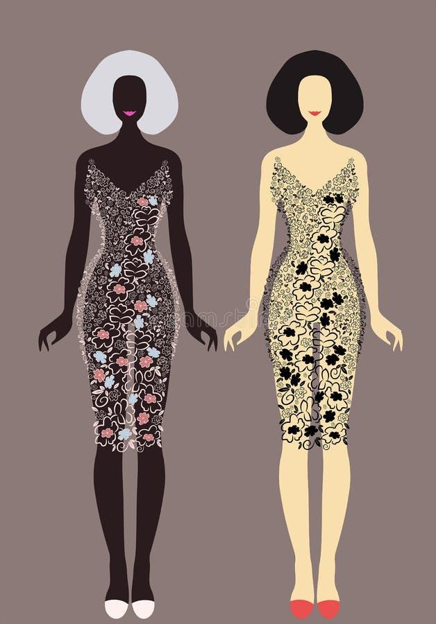 Όμορφο σύνολο μόδας μοντέρνων φορεμάτων για τη γυναίκα απεικόνιση αποθεμάτων