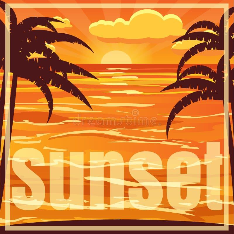Όμορφο τοπίο ηλιοβασιλέματος παραλιών με το φοίνικα Ηλιοβασίλεμα πέρα από τη θάλασσα, διανυσματική απεικόνιση ελεύθερη απεικόνιση δικαιώματος