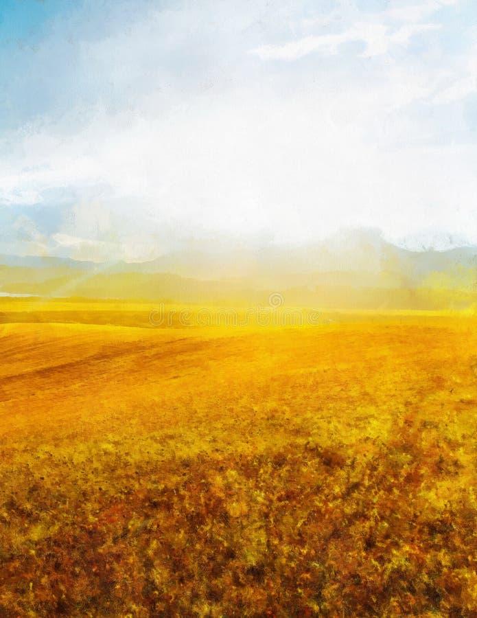 Όμορφο τοπίο, κίτρινο λιβάδι και επίδραση ζωγραφικής υπολογιστών στοκ εικόνες με δικαίωμα ελεύθερης χρήσης