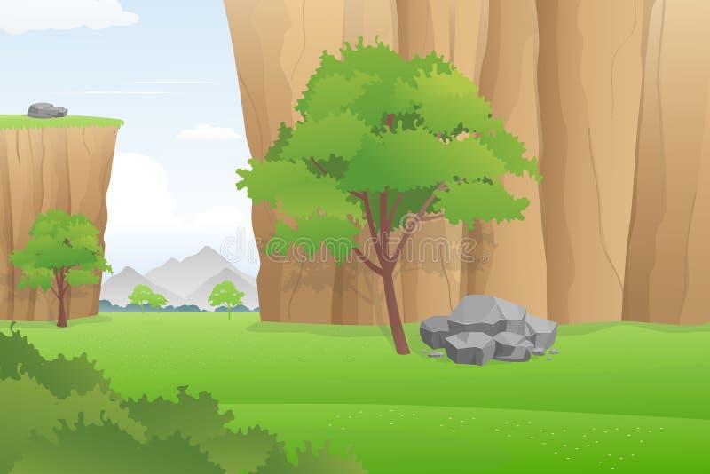 Όμορφο τοπίο κοιλάδων, πολύβλαστο φαράγγι με τον πράσινο τομέα και δέντρα, διανυσματική απεικόνιση ελεύθερη απεικόνιση δικαιώματος