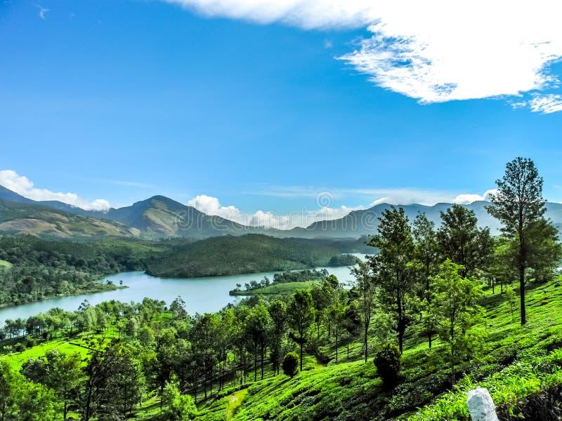 Όμορφο τοπίο με το άγριους δάσος και τον ποταμό Periyar, Κεράλα, Ινδία στοκ φωτογραφία με δικαίωμα ελεύθερης χρήσης