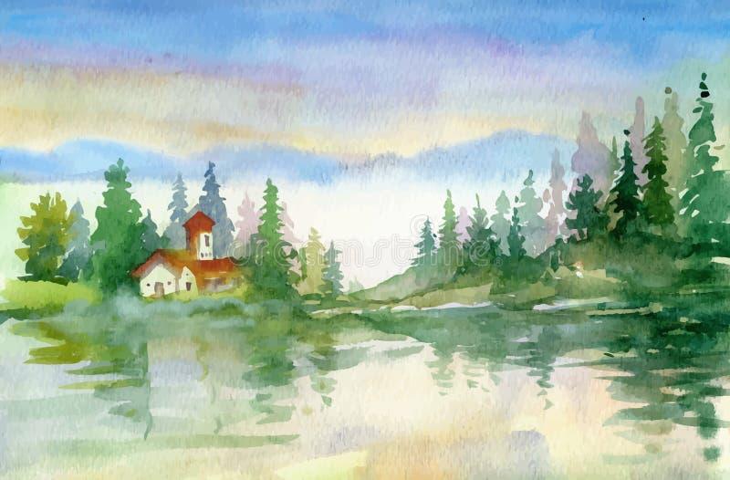 Όμορφο τοπίο ποταμών watercolor απεικόνιση αποθεμάτων