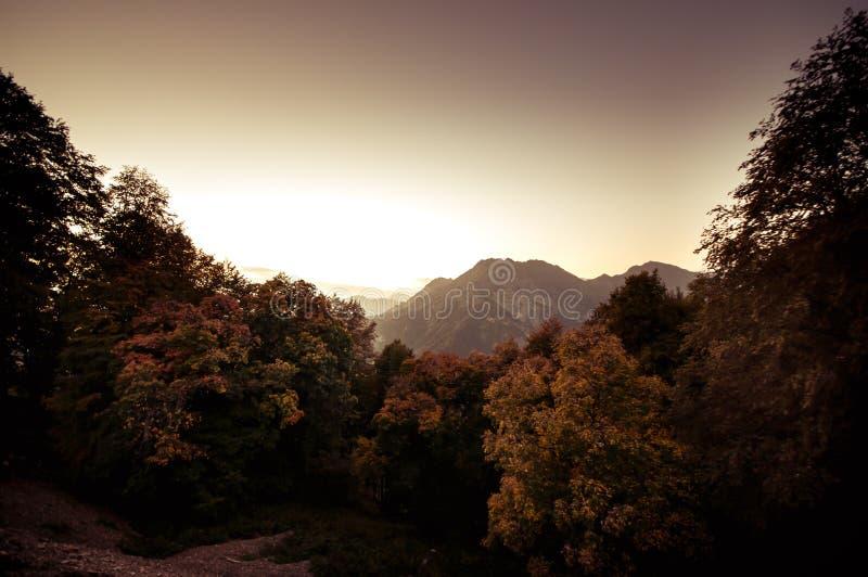 Όμορφο τοπίο στα βουνά με τον ήλιο στην αυγή Βουνά στο χρόνο ηλιοβασιλέματος Βουνά του Αζερμπαϊτζάν Καύκασος κανένας στοκ φωτογραφίες