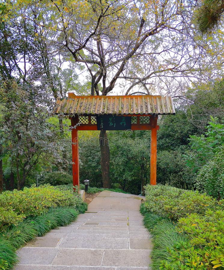 Όμορφο τοπίο της wuhan πανεπιστημιούπολης στοκ εικόνες