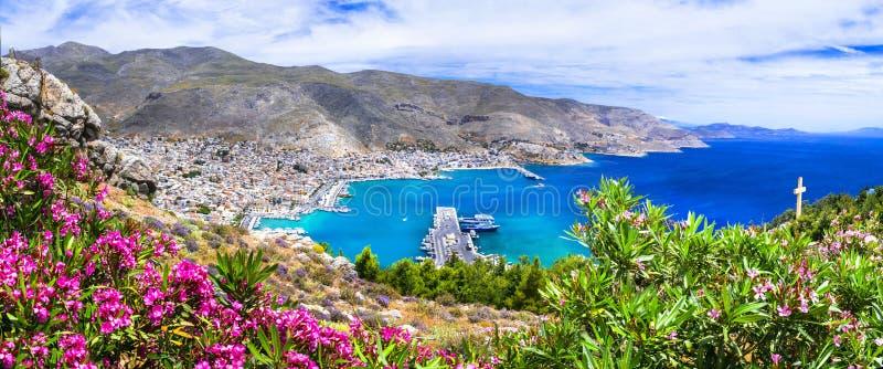 Όμορφο τοπίο του νησιού Kalymnos - άποψη της πόλης Pothia Ελλάδα, Dodecanese στοκ εικόνες