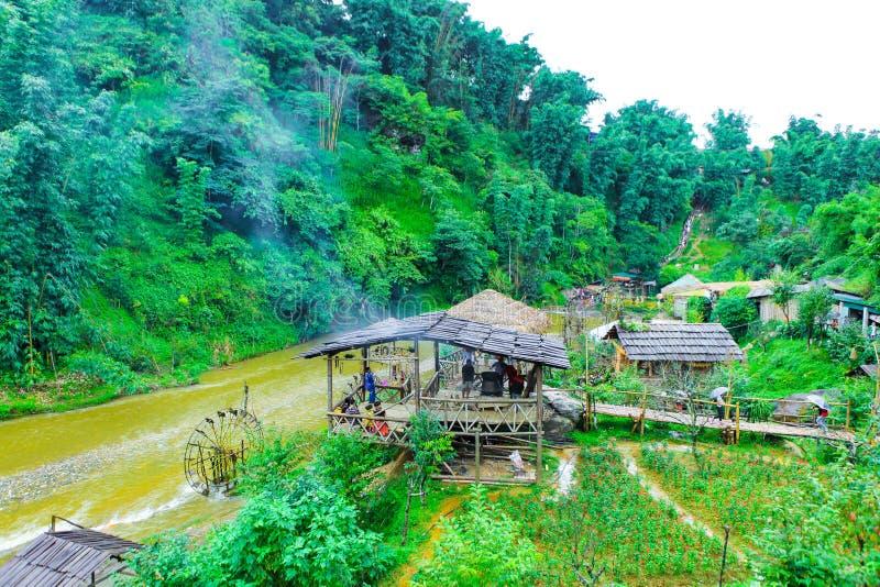 Όμορφο τοπίο των τομέων ρυζιού του χωριού γατών γατών στοκ εικόνες με δικαίωμα ελεύθερης χρήσης