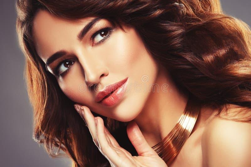 Όμορφο τρίχας υγιές δέρμα brunette γυναικών μακρύ hairsstyle στοκ φωτογραφία με δικαίωμα ελεύθερης χρήσης