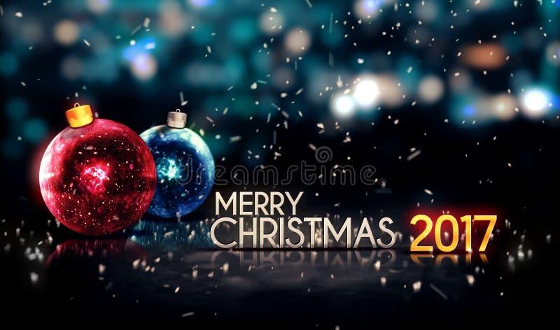 Όμορφο τρισδιάστατο υπόβαθρο Bokeh νύχτας Χαρούμενα Χριστούγεννας 2017 διανυσματική απεικόνιση