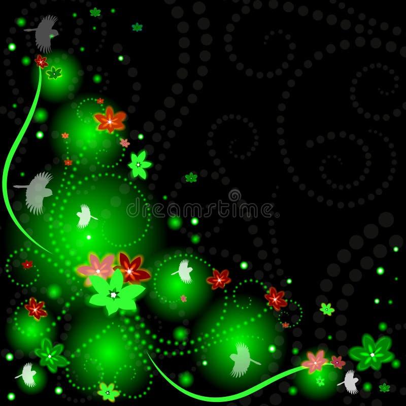 Όμορφο υπόβαθρο άνοιξη με τα λουλούδια, πουλιά διανυσματική απεικόνιση