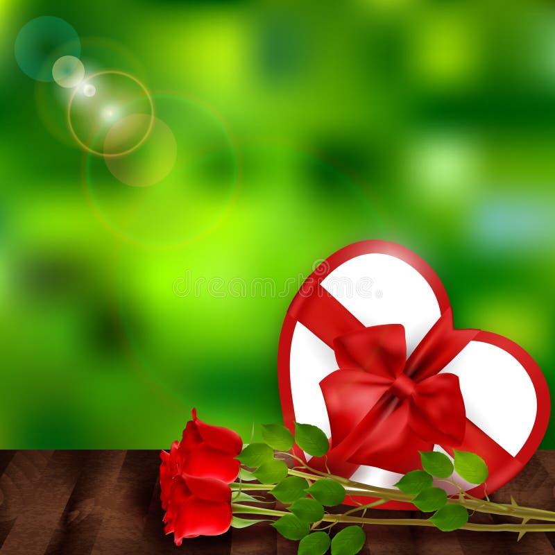 Όμορφο υπόβαθρο βαλεντίνων ` s θαμπάδων με τα τριαντάφυλλα και το δώρο ελεύθερη απεικόνιση δικαιώματος