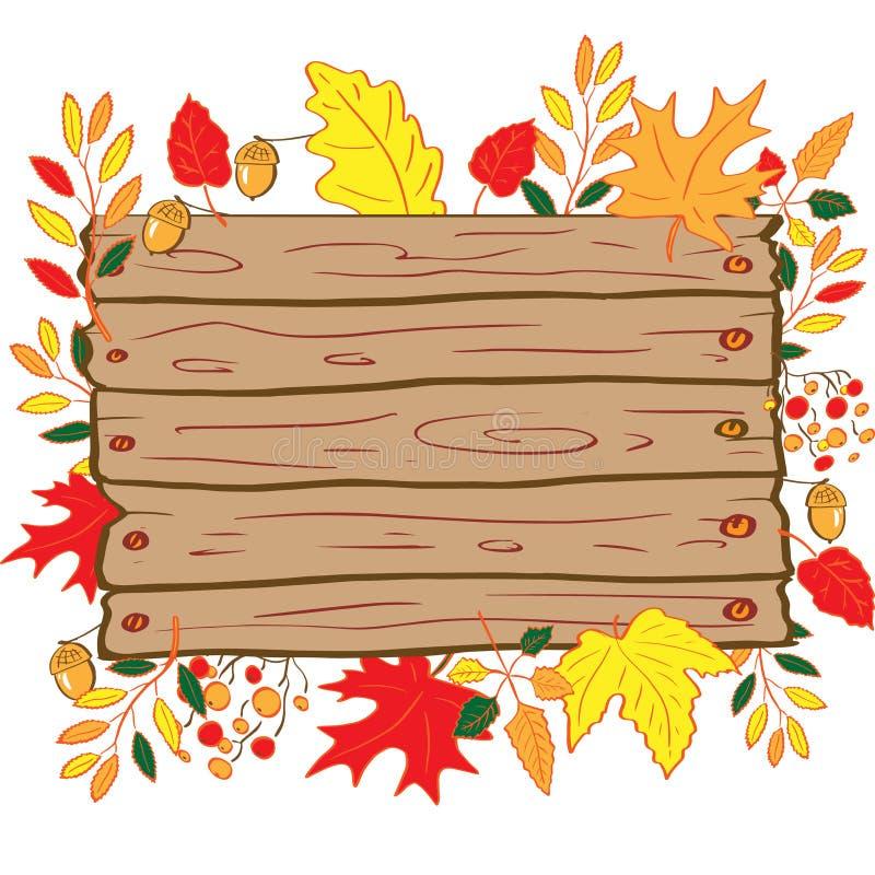 Όμορφο υπόβαθρο φθινοπώρου, ξύλινος πίνακας, πλαίσιο των φύλλων φθινοπώρου που απομονώνεται στο άσπρο υπόβαθρο r ελεύθερη απεικόνιση δικαιώματος
