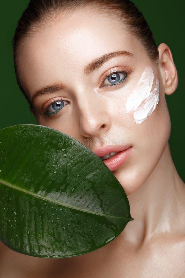 Όμορφο φρέσκο κορίτσι με την καλλυντική κρέμα στο πρόσωπο, τη φυσική σύνθεση και τα πράσινα φύλλα Πρόσωπο ομορφιάς στοκ εικόνα