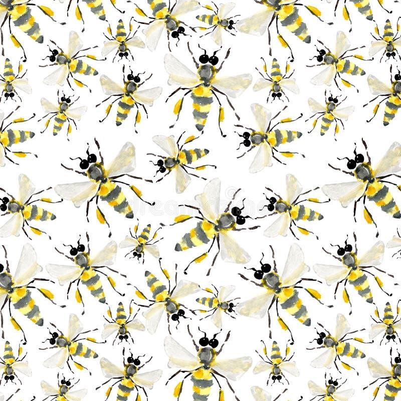 Όμορφο φωτεινό γραφικό αφηρημένο χαριτωμένο καλό θερινό ζωηρόχρωμο σχέδιο των μελισσών μελιού απεικόνιση αποθεμάτων