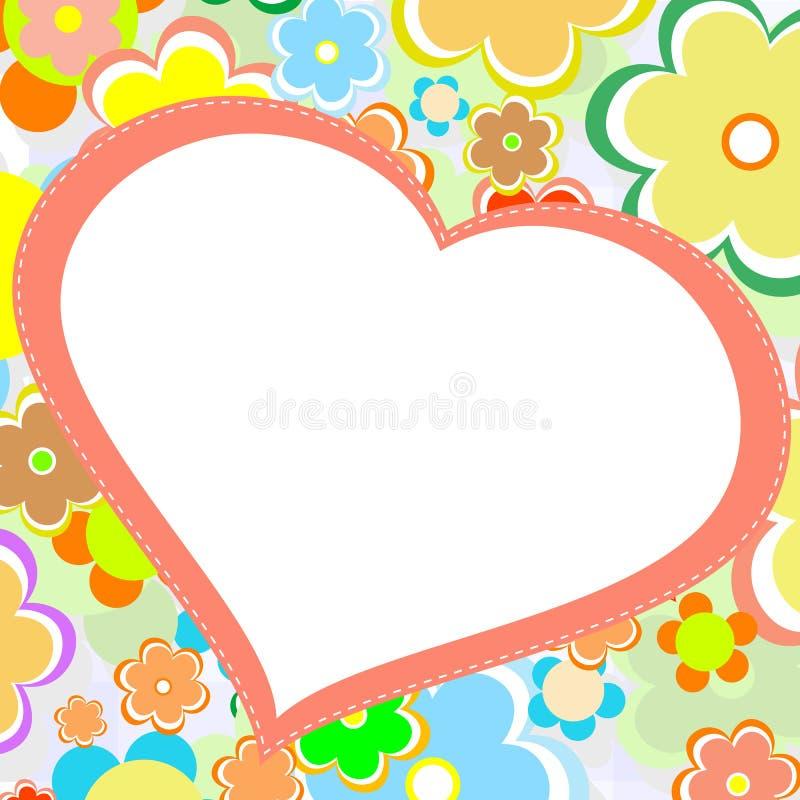 όμορφο φωτεινό διάνυσμα καρδιών λουλουδιών καρτών διανυσματική απεικόνιση