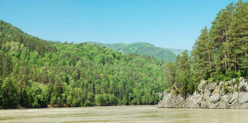 Όμορφο φωτεινό θερινό τοπίο με τον ποταμό και τις δασώδεις ακτές στοκ εικόνα με δικαίωμα ελεύθερης χρήσης
