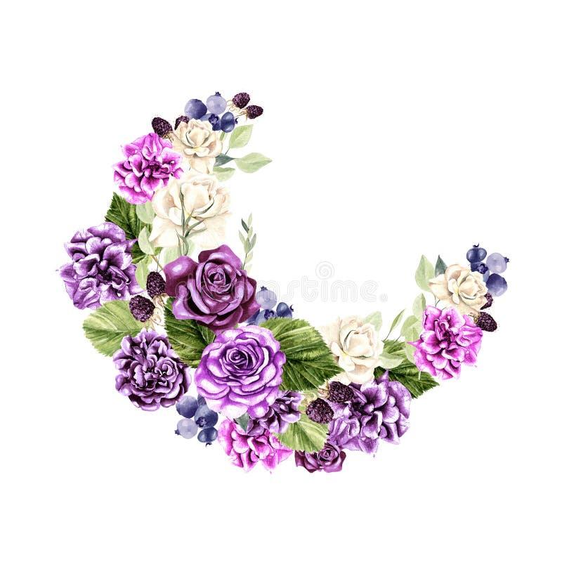Όμορφο, φωτεινό στεφάνι watercolor με τα τριαντάφυλλα, peony, τον ευκάλυπτο και berryes στοκ εικόνες